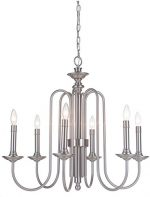 Craftmade 40726-PLN Avery 6 Light Chandelier Incandescent, Polished Nickel