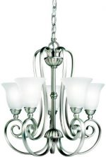 1825NI Willowmore 5LT Chandelier, Brushed Nickel Finish with Satin Etched Glass