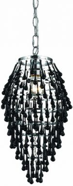 AF Lighting 8123-1H Crystal Teardrop Chandelier- Black