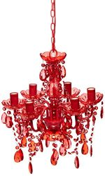 ShopWildThings Chandelier Gypsy with Plug Chandelier for Home/Retail/Weddings/Events, Small, Red