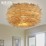 BL Modern European style Innovative American country bedroom ceiling lamp rattan bird's nest dining room roof lamp creative lighting 350mm,Ceiling Lamp (110-120V)