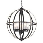 Anqitue Bronze Globe Sphere Cage Chandelier 5-Light Pendant Ceiling Fixture