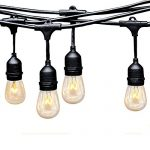 Outdoor Commercial String Lights, EAGWELL 24 Feet Heavy Duty Weatherproof Vintage Outdoor Lighting- 14 Gauge Black Cable with 12 Hanging Sockets- 14 Bulbs- Perfect Patio Garden or Party