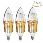 New Galaxy Lighting 9W LED Chandelier Candelabra Light Bulb, E12 Base 80 Watt Equivalent, 3000K Warm White, Pack of 3