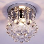 Linght Chrome Finish Mini Style Crystal Chandelier with K9 Crystal Pendant Ceiling Light