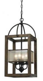 Cal Lighting FX-3536/4 Chandelier with Clear Seeded Glass Shades, Dark Bronze Finish