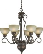 Forte Lighting 2365-06-32  Chandelier with Umber Mist Glass Shades, Antique Bronze