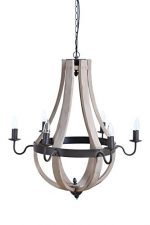 Creative Co-Op Wood and Metal Chandelier with 6 Lights, 27″ Round by 27″ Height