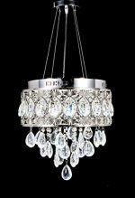 New Legend Modern LED Crystal Chandelier Chrome Finish Pendant Hanging or Flush Mount Ceiling Lighting Fixture, 3 light colors in one Smart Lamp, #554