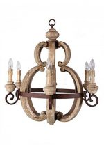 French Country Cottage Style Aged Large Round Wood Chandelier Light Fixture