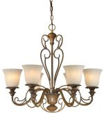 Forte Lighting 2491-06-41  Chandelier with Tapioca Glass Shades, Rustic Sienna