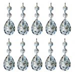 MISHIN Clear Crystal Faceted Prism with Octagon Beads Glass Chandelier Drop Pendants,Pack of 10