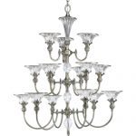 Progress Lighting P4508-101 15-Light, 3-Tier Chandelier with Clear Crystal Accents, Classic Silver