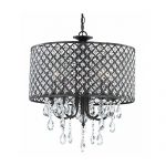 Top Lighting Antique Black 4-light Round Crystal Chandelier Pendant Ceiling Fixture