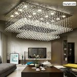 Siljoy Modern Contemporary Crystal Rectangular Chandelier for Living Room Flush Mount Ceiling Lighting Fixture, H14″xW36″xDepth24″, 16 Daylight LED Bulbs
