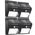BAXIA TECHNOLOGY Outdoor Waterproof Motion Sensor Solar Bright Security Lights – 12 LEDs Wireless for Wall (4-pack)