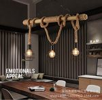 FUMIMID American country living room Edison vintage industrial chandelier rope woven bamboo chandelier the restaurant retro lamp