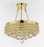 Semi Flush Mount French Empire Crystal Ball Chandelier Chandeliers Lighting , Ht 17 X Wd 15 , 4 Lights , Free Shipping Crystal Gold Metal Shade flushmount
