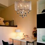 OOFAY LIGHT® Modern Elegant 4 – Light Pendant Lights ,chandelier lgiht with Crystal Drops in round feather living room ,dining room , bedroom